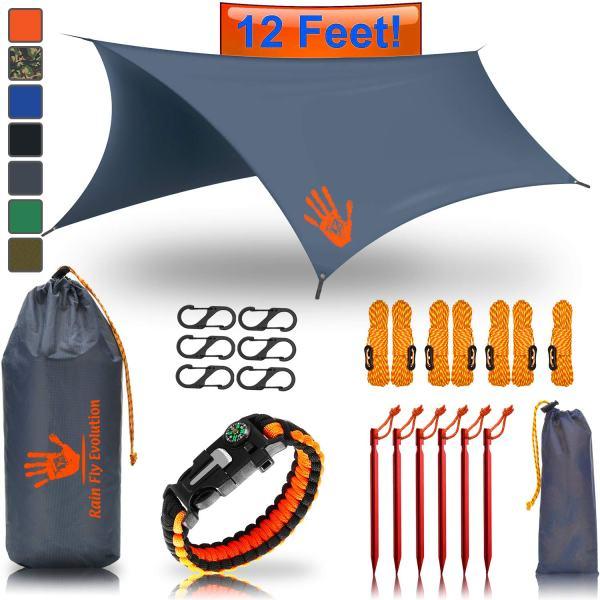 Rain Fly EVOLUTION 12 x 10 ft Camping Hammock RAIN Fly Waterproof Tent TARP and Survival Bracelet – Lightweight – Backpacker Approved – Diamond Ripstop – Perfect Hammock Shelter – Gray