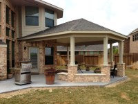 Covered Patio with Cathedral Ceilings and Built-in Bench ...