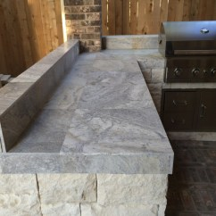 Tiled Kitchen Countertops Drop Leaf Cart Houston Outdoor With Silver Travertine Tile Countertop