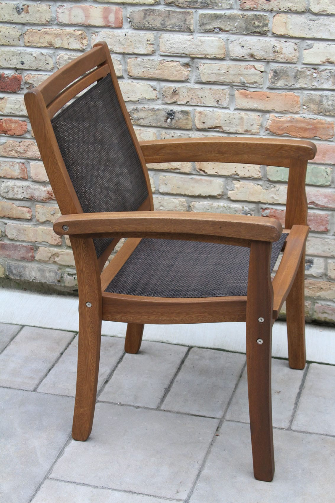 sling stackable patio chairs chair kneel stool eucalyptus wood and brown arm
