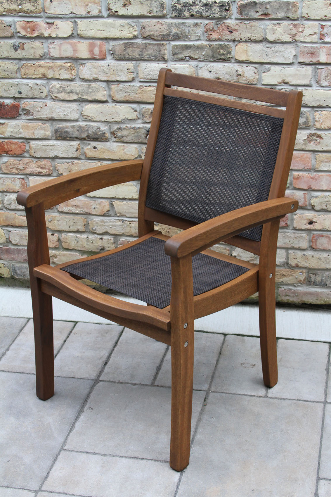 Sling Stacking Chair Eucalyptus Wood And Brown Sling Stackable Arm Chair