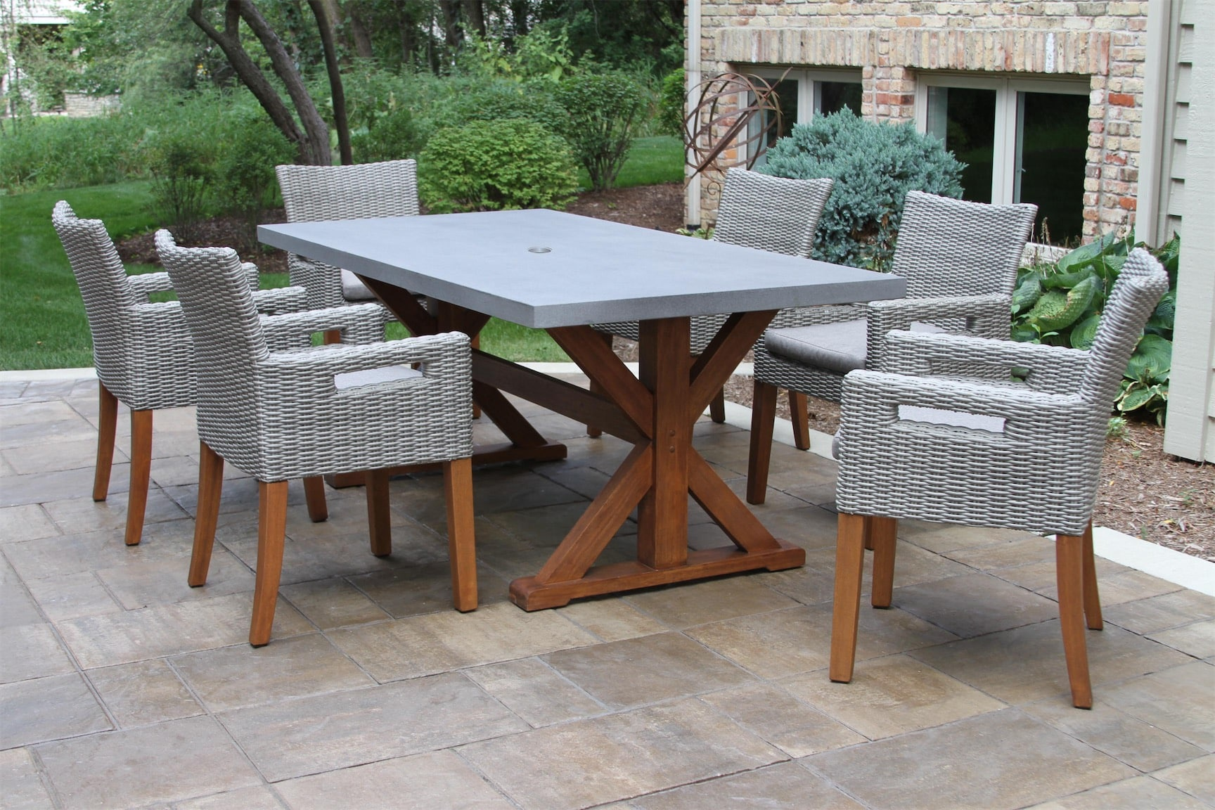 eucalyptus dining table with composite