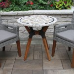 30 Marble Mosaic Bistro Table Top With Mixed Material Base