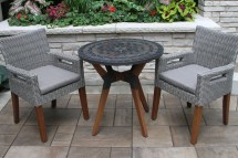 "30"" Rustic Slate Mosaic Bistro Table Top With Mixed"