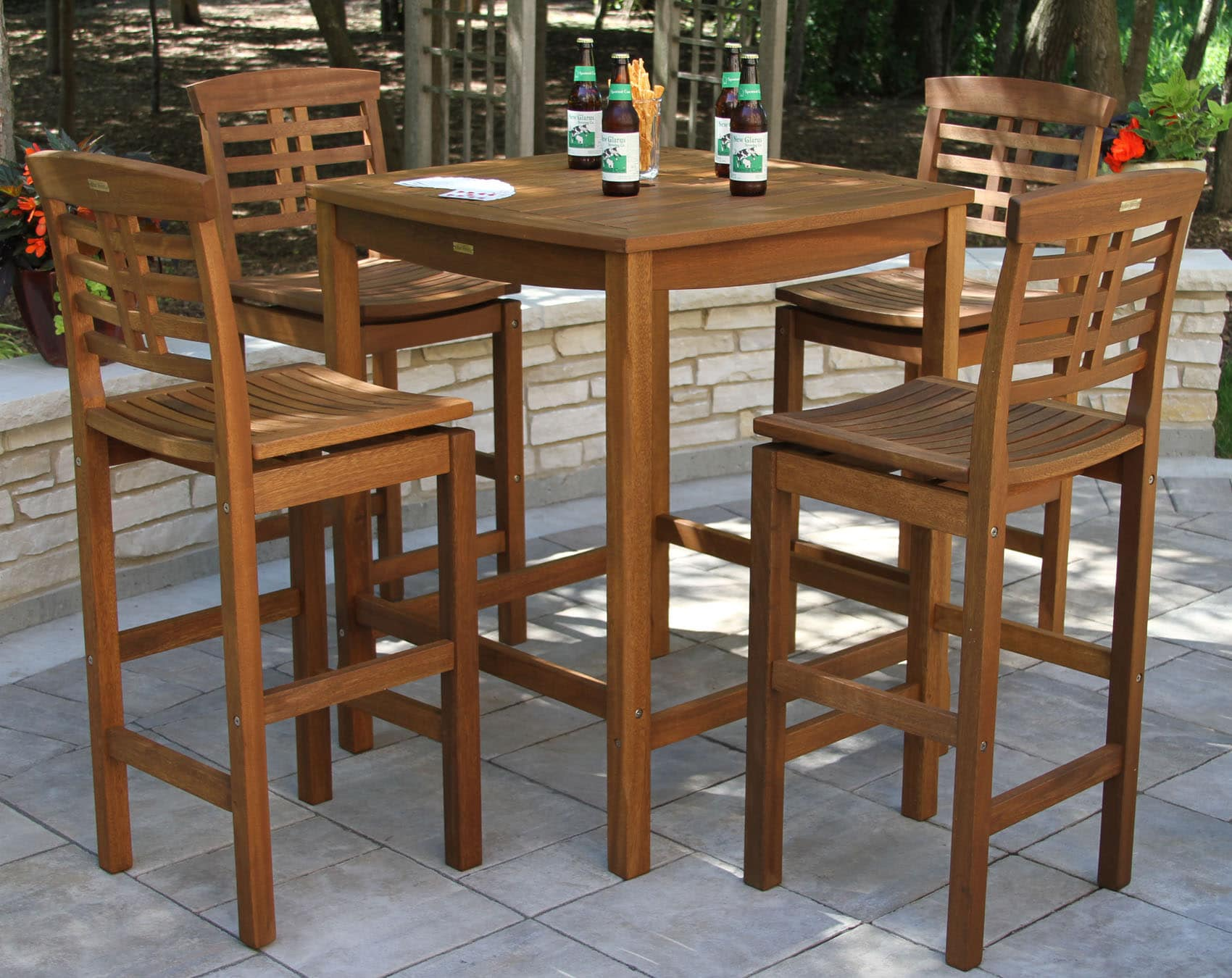 Bar Table With Chairs Eucalyptus Wood Square Bar Height Table In Umber Brown