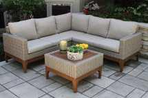 4pc. Ash Wicker & Eucalyptus Wood Sectional Sofa Set