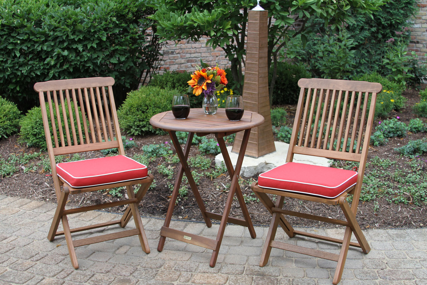 3pc. Round Wood Bistro Set With Chairs And Red Cushions