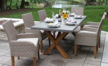 Teak Wood & Ash Wicker Dining Side Chair With Sunbrella