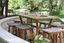 Nautical Teak Wood Counter Height Outdoor Table With