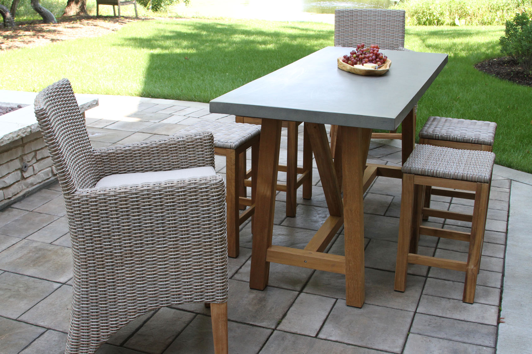 Composite Chairs Composite Counter Height Dining Table With Teak Base