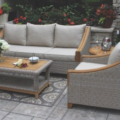 Sunbrella Sofa Cushions Best Sleeper On The Market Wicker And Natural Teak Wood With