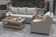 Wicker & Natural Teak Wood Sofa With Sunbrella Cushions