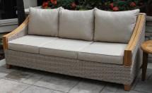 wicker & natural teak wood sofa
