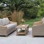 Wicker Natural Teak Wood Sofa With Sunbrella Cushions Pillows