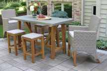 Teak Hardwood & Ash -weather Wicker Outdoor Bar Chair
