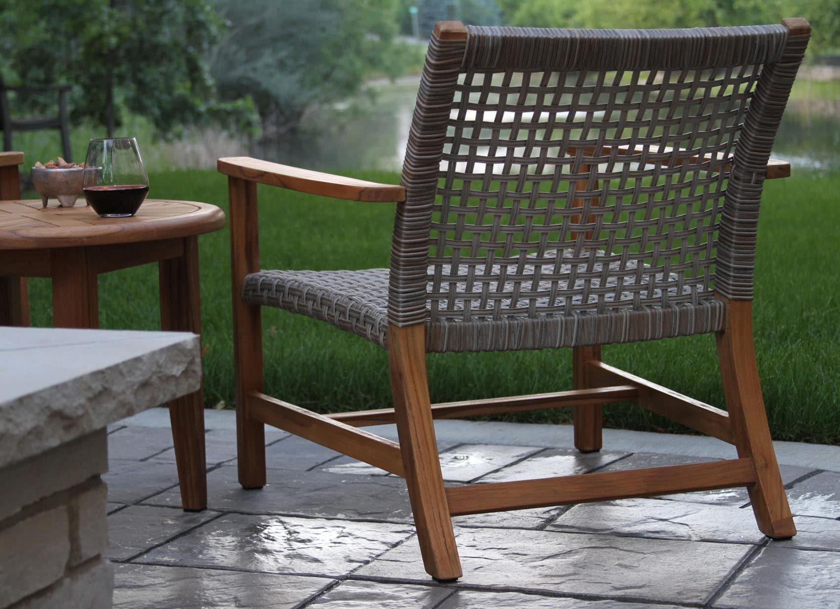 Outside Lounge Chairs Teak Wood And Ash Wicker All Weather Lounge Chair 2pk