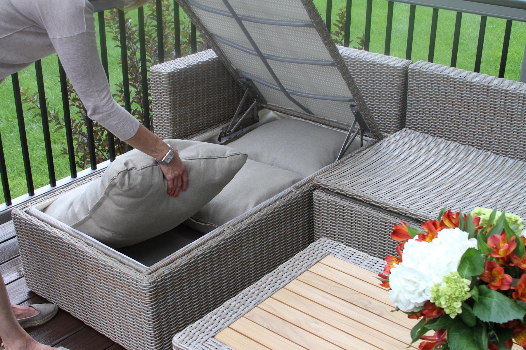 3pc teak ash wicker sectional sofa