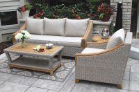 Wicker & Natural Teak Wood Sofa with Sunbrella Cushions ...