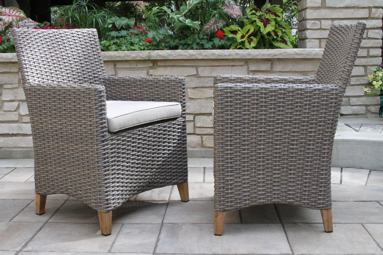 wicker patio chair cushions home innovations covers teak & driftwood grey dining with sunbrella fabrics, 2pk.