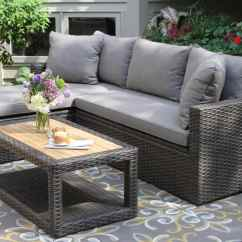 Sofa Set Designs With Storage Alessia Chaise Sectional Teak And Eucalyptus Wood Outdoor Furniture Torches