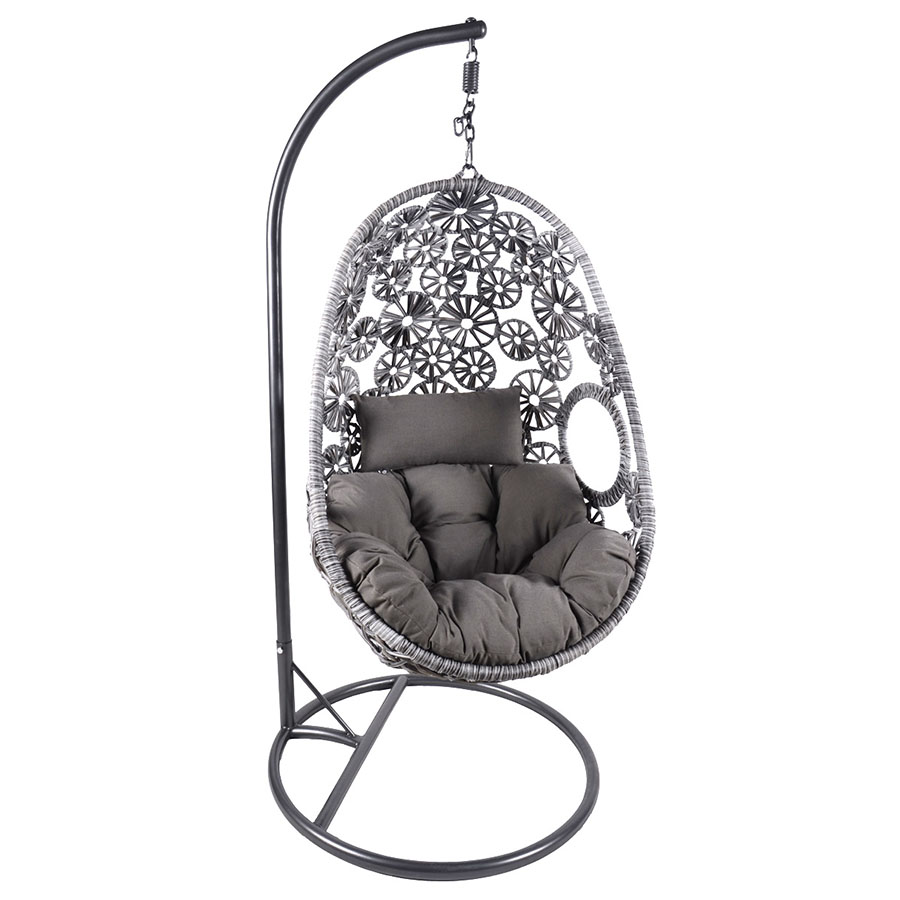Egg Swing Chairs Charles Bentley Floral Rattan Swing Chair Grey