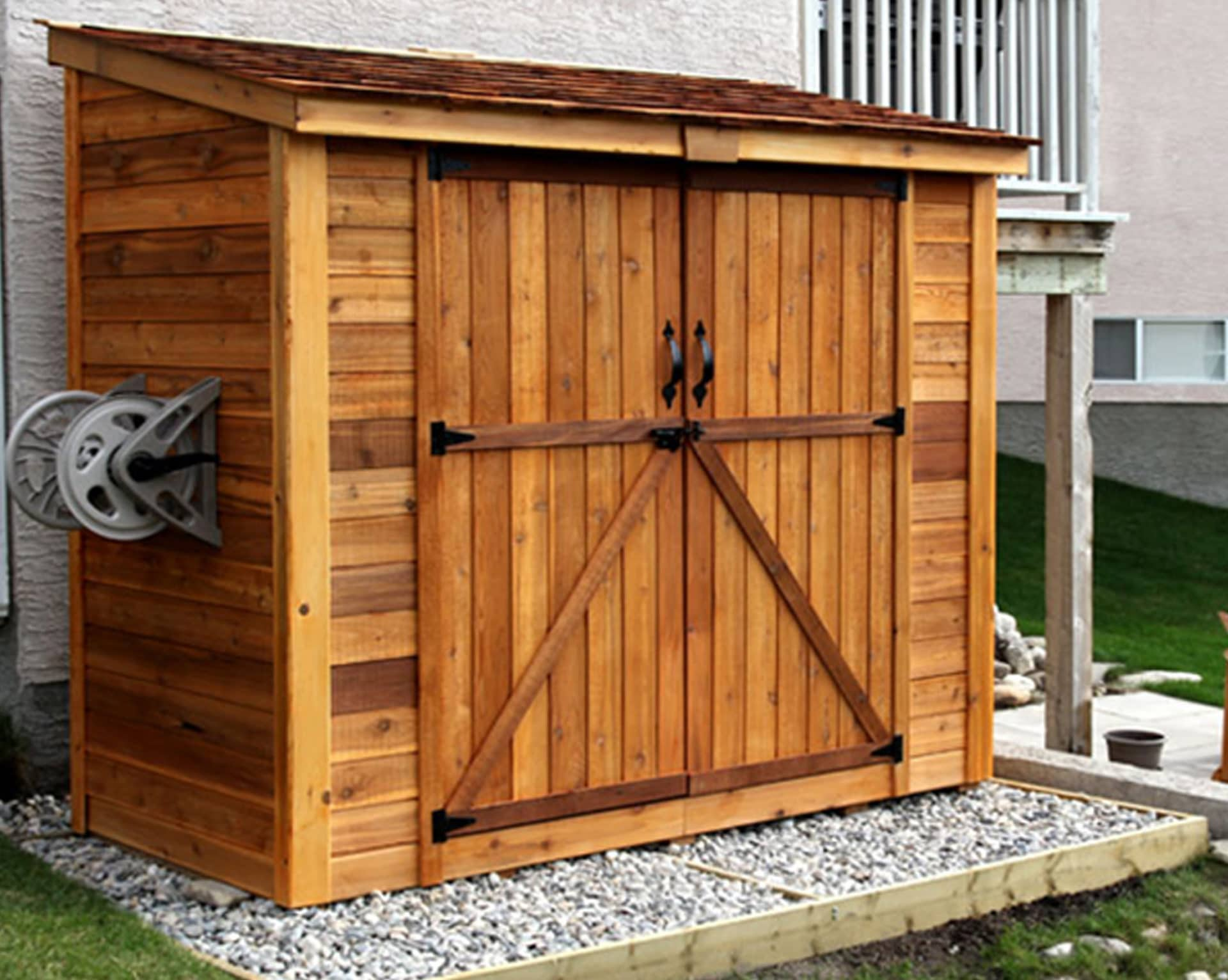 Lean to Shed  SpaceSaver 8x4  Double Doors  Outdoor