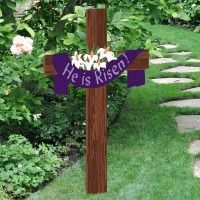 He is Risen Easter Yard Cross | Outdoor Nativity Store