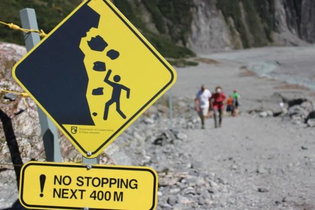 Schild Gletschertour Neuseeland
