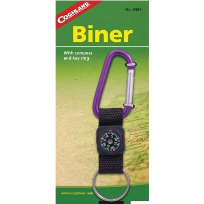 Coghlan's 6mm Biners with Compass & Key Ring various colour