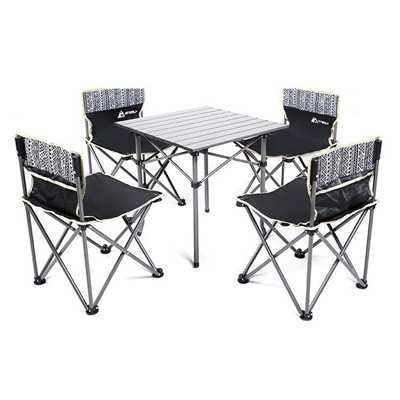 Hewolf 5pcs Set Camping Foldable Table and Chairs black
