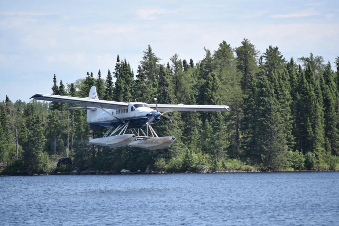 Float plain leaving us in the Atikaki Provincial Wilderness