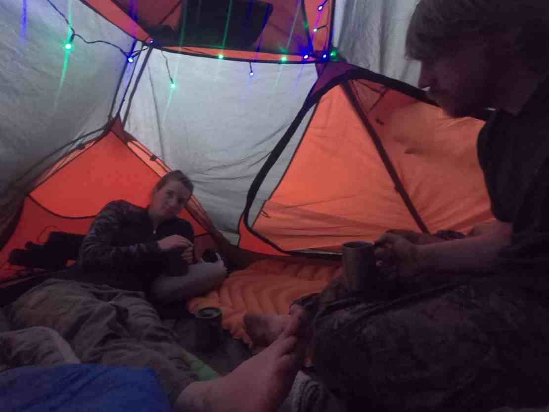 Insite the tent during a thunderstorm