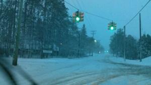 Winter Road Traffic Green Light
