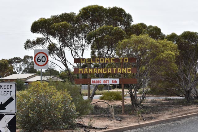The sign welcoming drivers to Manangatang