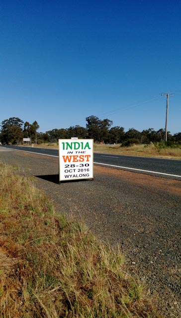 A sign for the India of the west festival.