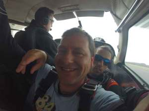 Taking to the skies for a tandem sky dive.