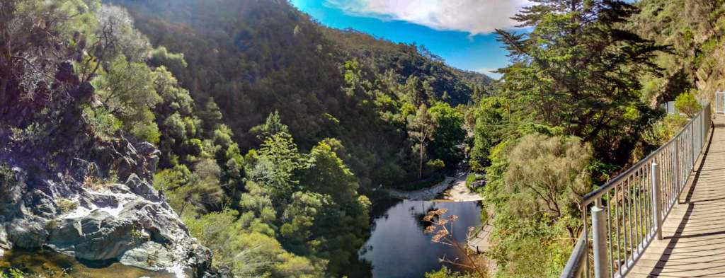 Panorama captured from the boardwalk at the top of the first falls - Waterfall Gully