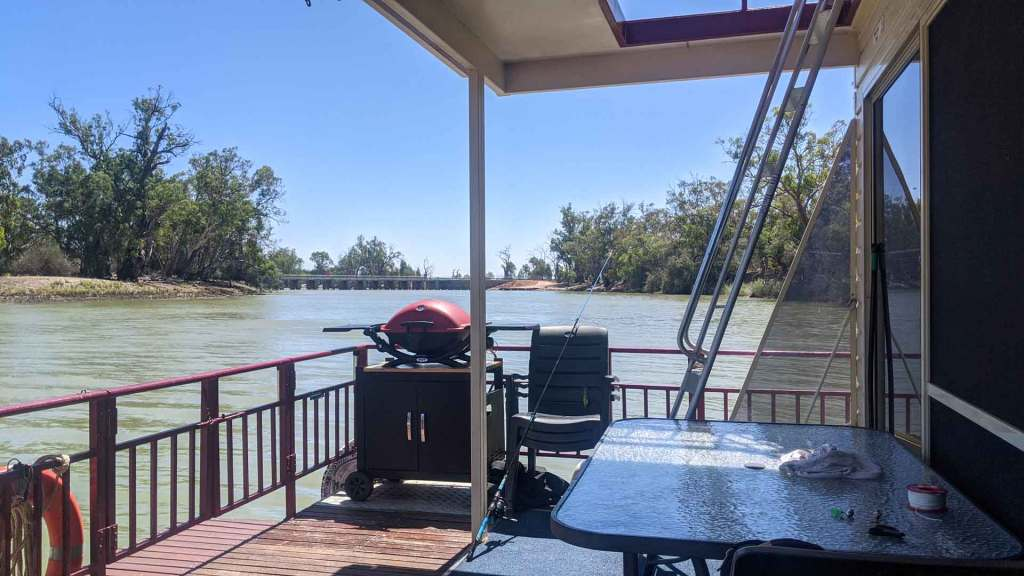 Looking from the back deck of a houseboat towards the Chowilla regulator