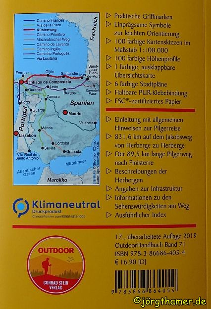 Rückseite Wanderführer Camino del Norte Conrad Stein Verlag