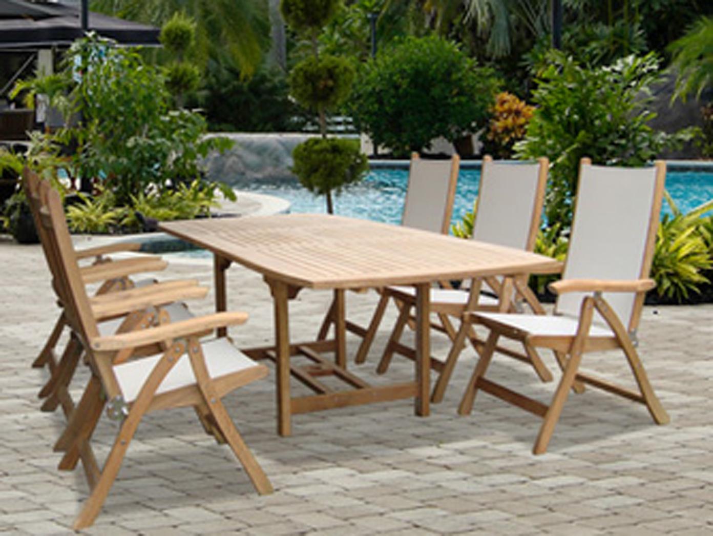 Rectangular Teak Extension Table Set Outdoor Teak More - Teak extension table outdoor