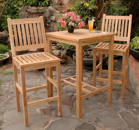 Anderson Teak Bar Table and 2 Chairs -Set-10 - Outdoor Teak & More