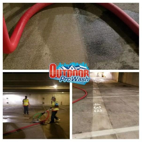 Parking Garage Pressure Washing with Instant Water Capture