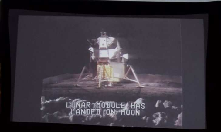 Apollo 11 touchdown as animated by CBS in their 1969 broadcast. Photo, Kip Tabb
