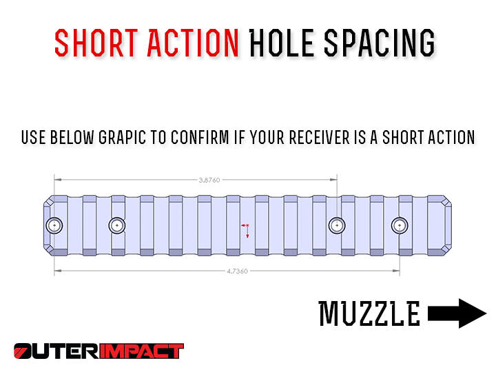 Ruger American short action hole spacing measurements