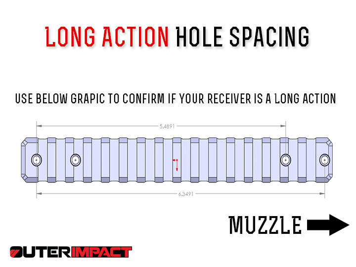 savage long action hole spacing measurements