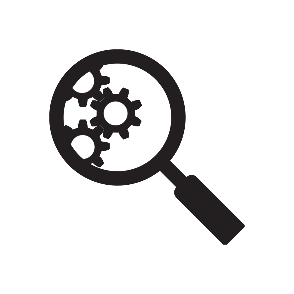Magnifying glass inspecting gears