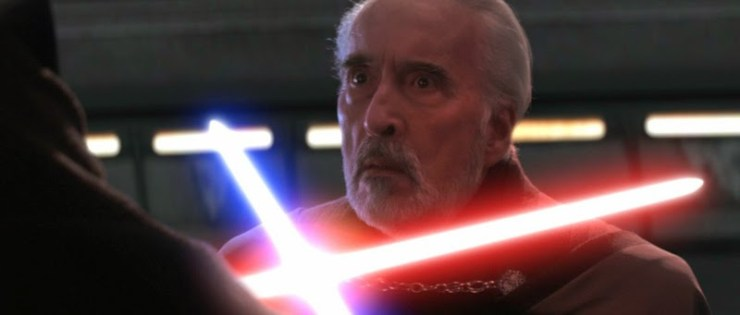 Count Dooku loses hands and head (Revenge of the Sith)
