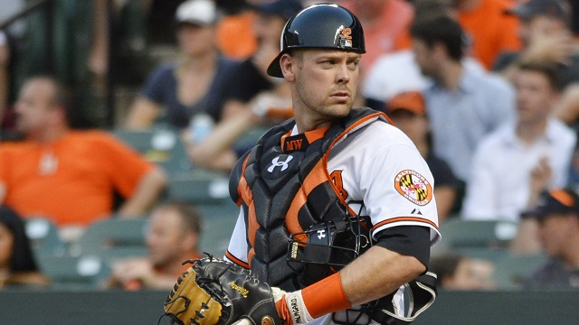 Jun 9, 2015; Baltimore, MD, USA; Baltimore Orioles catcher Matt Wieters (32) stands at home plate during the third inning against the Boston Red Sox at Oriole Park at Camden Yards. Mandatory Credit: Tommy Gilligan-USA TODAY Sports
