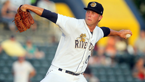 08 JUN 2013: Evan Rutckyj of the RiverDogs delivers a pitch to the plate during the South Atlantic League game between the Asheville Tourists and the Charleston RiverDogs at Joseph P. Riley, Jr. Park in Charleston, SC. (Photo Credit: Cliff Welch/MLB.com)
