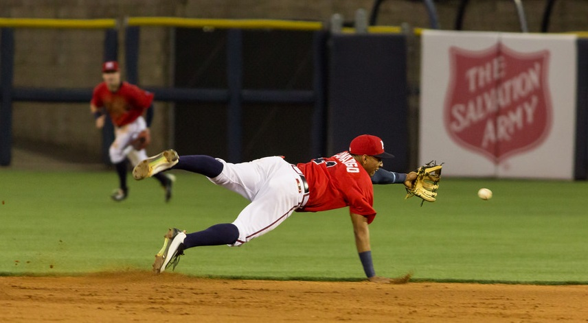 Johan Camargo lays out for Mississippi.
